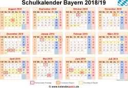 Schulkalender 2018/19 Bayern
