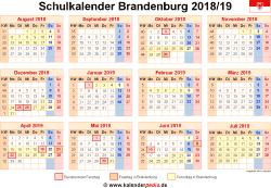 Schulkalender 2018/19 Brandenburg