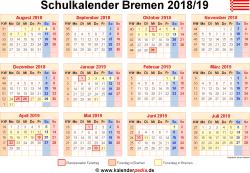 Schulkalender 2018/19 Bremen