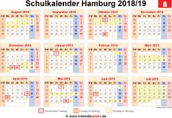 Schulkalender 2018/19 Hamburg