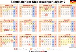 Schulkalender 2018/19 Niedersachsen