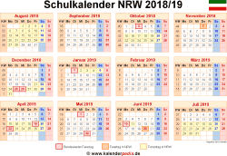 schulkalender 2018 2019 nrw f r pdf. Black Bedroom Furniture Sets. Home Design Ideas