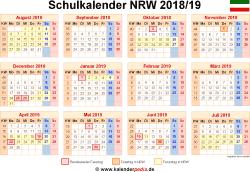 Schulkalender 2018/19 NRW