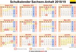 Schulkalender 2018/19 Sachsen-Anhalt