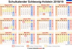 Schulkalender 2018/19 Schleswig-Holstein