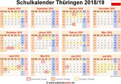 Schulkalender 2018/19 Thüringen