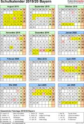 Vorlage 6: Schuljahreskalender 2019/2020 im Hochformat, Jahresübersicht