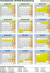 Vorlage 5: Schuljahreskalender 2019/2020 im Hochformat, Jahresübersicht