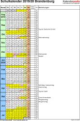 Vorlage 7: Schuljahreskalender 2019/2020 im Hochformat, 1 Seite, Tage fortlaufend (Wochengliederung)