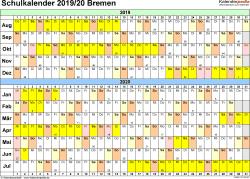Vorlage 3: Schuljahreskalender 2019/2020 im Querformat