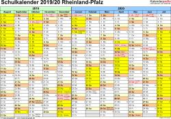 Vorlage 1: Schuljahreskalender 2019/2020 im Querformat