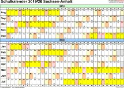 Vorlage 2: Schuljahreskalender 2019/2020 im Querformat