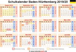 Schulkalender 2019/20 Baden-Württemberg