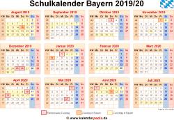 Schulkalender 2019/20 Bayern