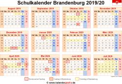 Schulkalender 2019/20 Brandenburg