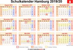 Schulkalender 2019/20 Hamburg