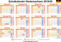 Schulkalender 2019/20 Niedersachsen