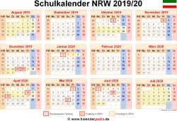 Schulkalender 2019/20 NRW