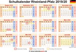 Schulkalender 2019/20 Rheinland-Pfalz