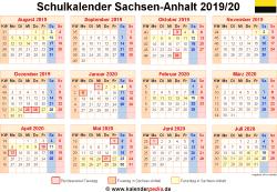 Schulkalender 2019/20 Sachsen-Anhalt