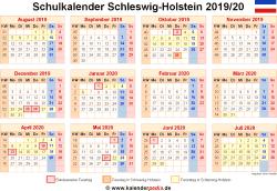 Schulkalender 2019/20 Schleswig-Holstein