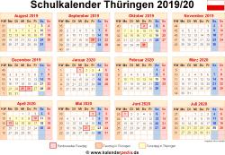 Schulkalender 2019/20 Thüringen