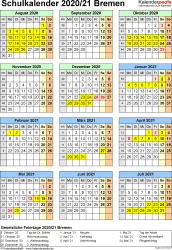 Vorlage 7: Schuljahreskalender 2020/2021 im Hochformat, Jahresübersicht
