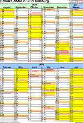 Vorlage 5: Schuljahreskalender 2020/2021 im Hochformat, 1 Seite, unterteilt in 6-Monats-Blöcke