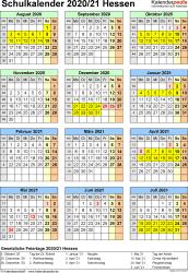 Vorlage 6: Schuljahreskalender 2020/2021 im Hochformat, Jahresübersicht