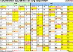 Vorlage 1: Schuljahreskalender 2020/2021 im Querformat