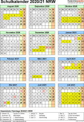 Vorlage 5: Schuljahreskalender 2020/2021 im Hochformat, Jahresübersicht