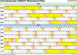 Vorlage 3: Schuljahreskalender 2020/2021 im Querformat