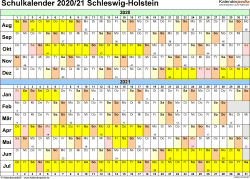 Vorlage 2: Schuljahreskalender 2020/2021 im Querformat