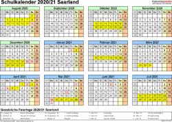 Vorlage 4: Schuljahreskalender 2020/2021 im Querformat, Jahresübersicht