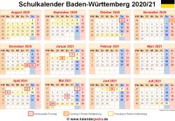 Schulkalender 2020/21 Baden-Württemberg