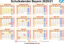 Schulkalender 2020/21 Bayern
