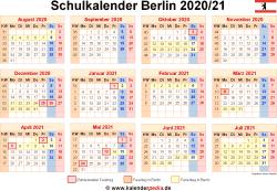 Schulkalender 2020/21 Berlin