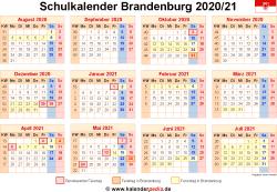 Schulkalender 2020/21 Brandenburg