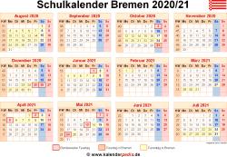 Schulkalender 2020/21 Bremen