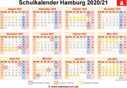 Schulkalender 2020/21 Hamburg