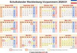 Schulkalender 2020/21 Mecklenburg-Vorpommern
