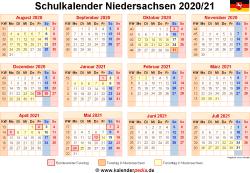 Schulkalender 2020/21 Niedersachsen