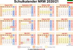 Schulkalender 2020/21 NRW