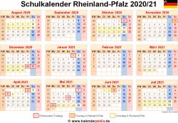 Schulkalender 2020/21 Rheinland-Pfalz