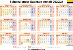Schulkalender 2020/21 Sachsen-Anhalt