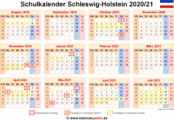 Schulkalender 2020/21 Schleswig-Holstein