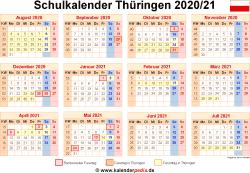 Schulkalender 2020/21 Thüringen