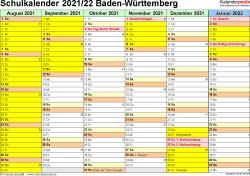 Vorlage 2: Schuljahreskalender 2021/2022 im Querformat