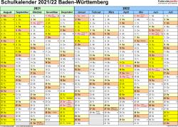 Vorlage 1: Schuljahreskalender 2021/2022 im Querformat