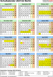 Vorlage 6: Schuljahreskalender 2021/2022 im Hochformat, Jahresübersicht